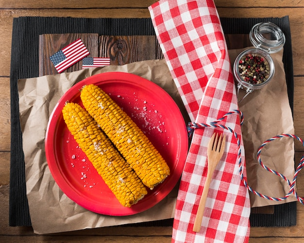 Top view corn on the cob