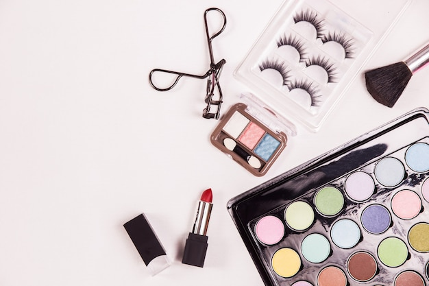 Top view cosmetic beauty makeup