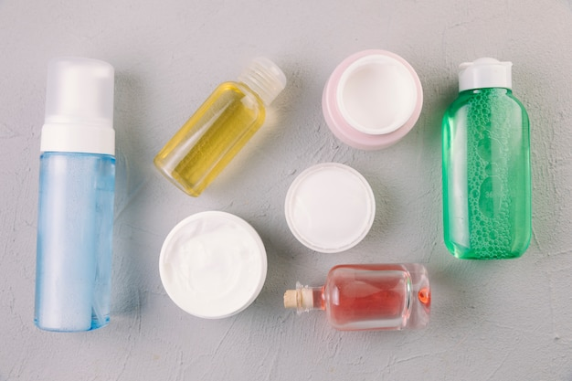 Top view cosmetic bottles