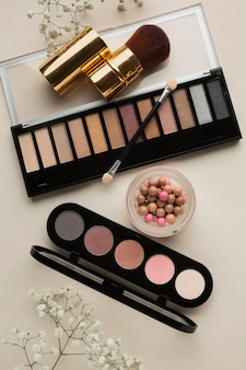 Top view cosmetic products for makeup