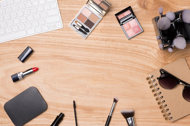 Top view of cosmetics and female accessories. woman essentials.