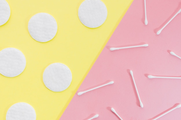 Top view cotton swabs and cotton