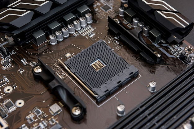 Top view at cpu of motherboard of personal computer