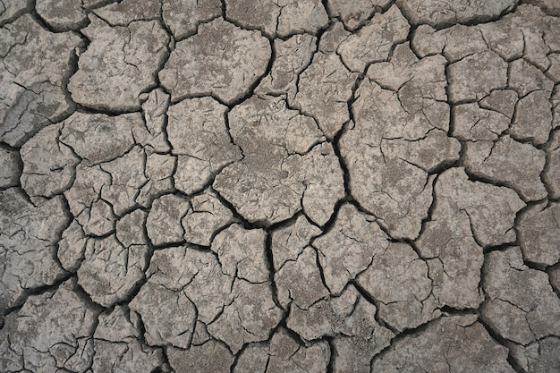 Top view cracked ground drought season