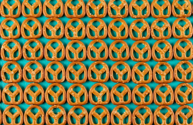 Top view crackers pattern on blue  horizontal