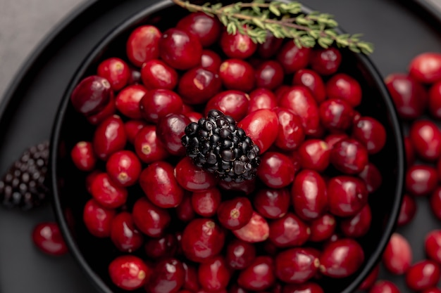 Top view of cranberries in bowl