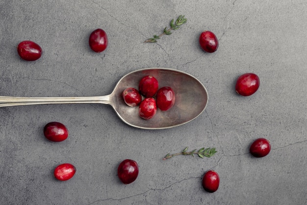 Top view of cranberries with spoon