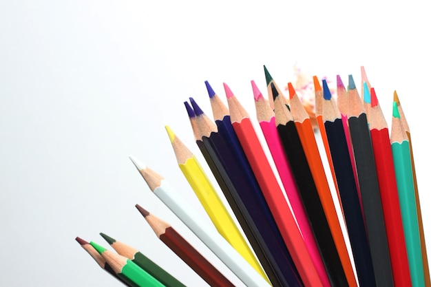 Top view crayon is placed on a white background and have copy space.