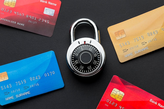 Top view of credit cards with lock