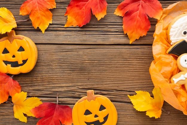 秋の紅葉と上から見る不気味なハロウィーンの概念