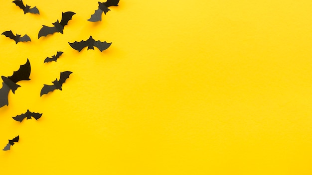 Top view creepy halloween concept with bats