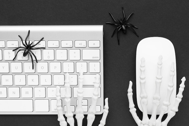 Top view creepy halloween concept with keyboard