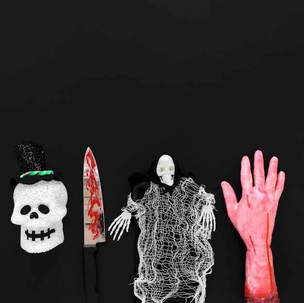 Вид сверху жуткие хэллоуин элементы с копией пространства