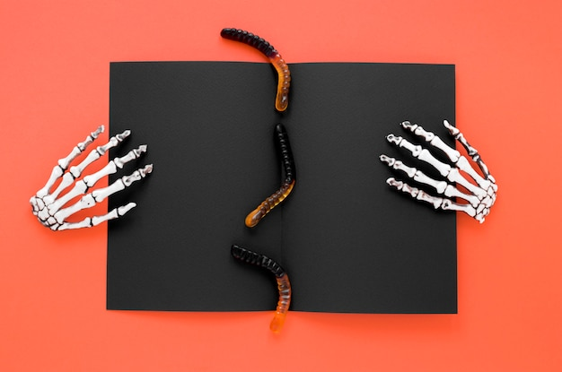 Top view creepy skeleton hands for halloween