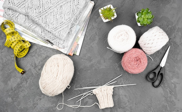Top view of crocheting supplies