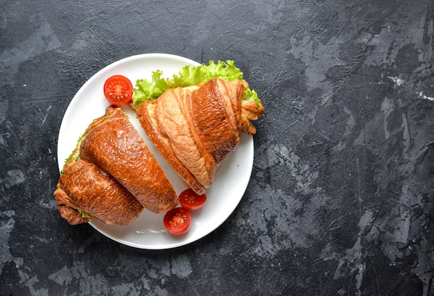 Top view croissant sandwich on table