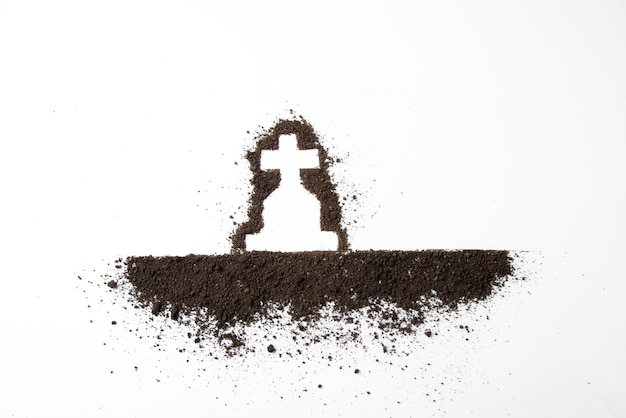 Top view cross shape with dark soil on white