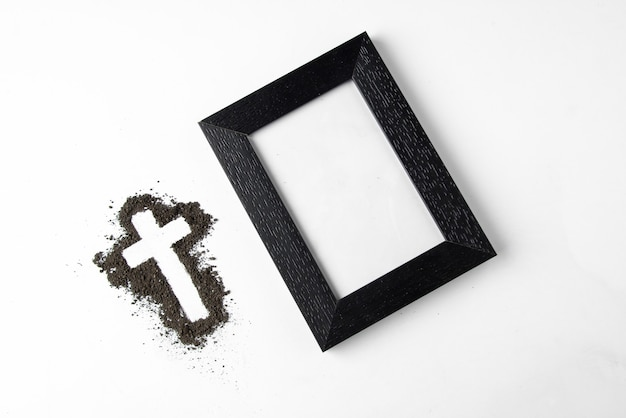 Top view cross shape with picture frame on the white