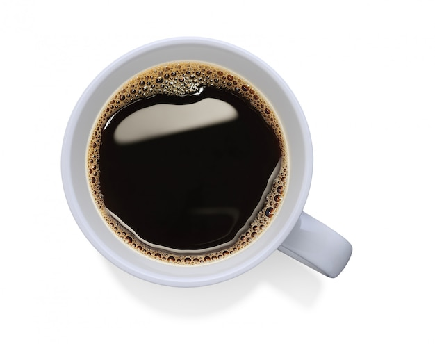 Top view of a cup of coffee isolated