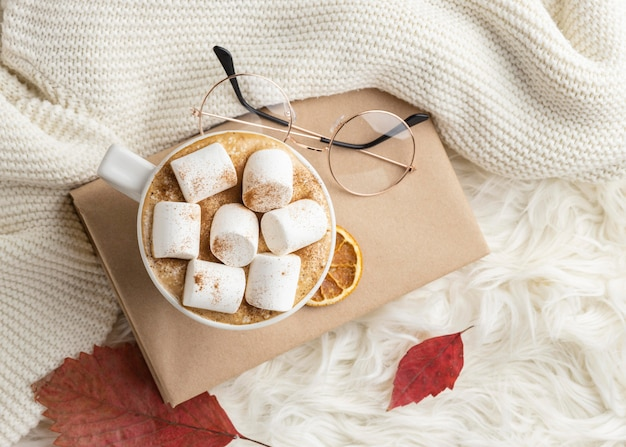 Top view of cup of hot cocoa with marshmallows on book with glasses