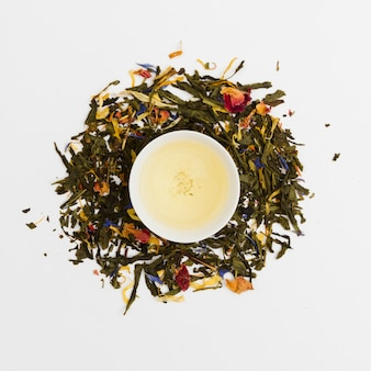 Top view cup of tea surrounded by dry leaves