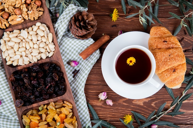 Top view of a cup of tea with croissant, mixed nuts with dried fruits and scattered dandelions on wood