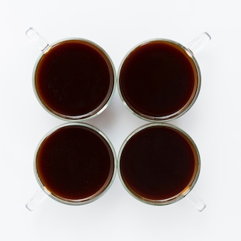 Top view cups of coffee