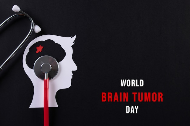 Top view of cut paper brain with text world brain tumor day concept.