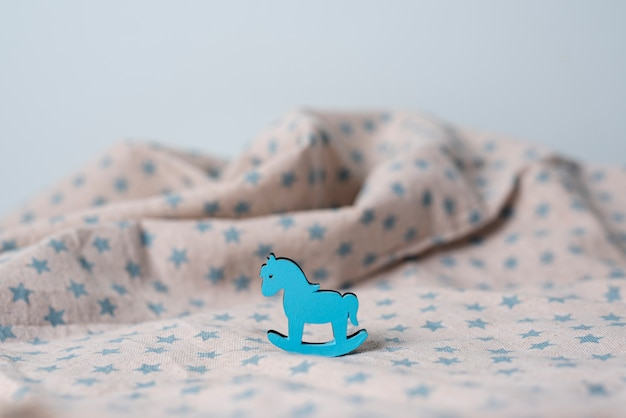 Top view of cute horse and blanket