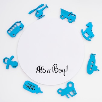 Top view of cute little baby accesories with copy space