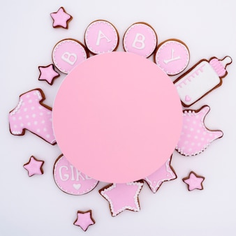Top view of cute little baby accesories