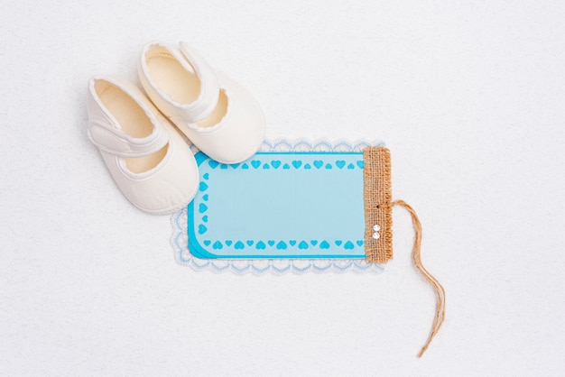 Top view of cute little baby accessories