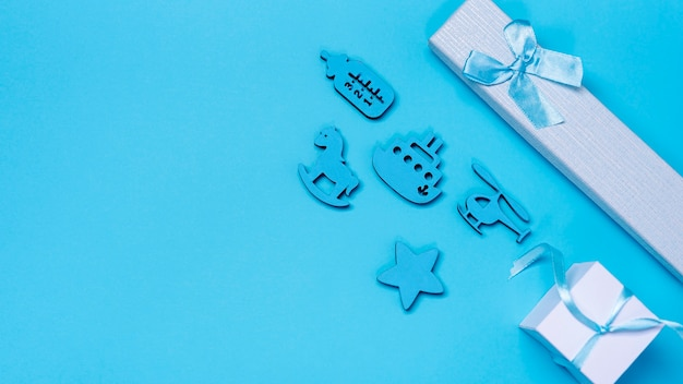 Top view of cute little baby boy accesories with copy space