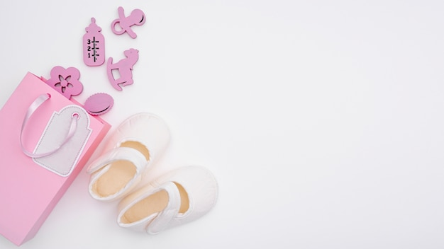 Top view of cute little baby girl  accesories with copy space