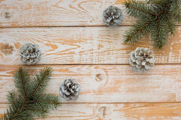 Vista dall'alto simpatici aghi e coni di pino invernale