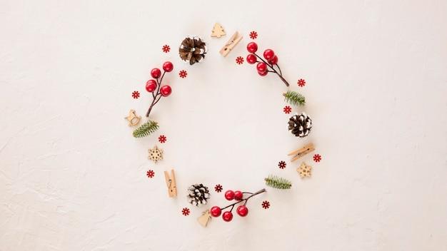要素の上面図かわいい冬の花輪