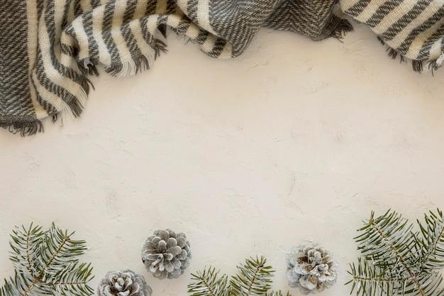 トップビューかわいい冬のゼブラプリントスカーフ