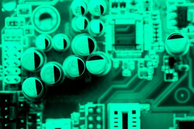 Top view cyan themed circuit board