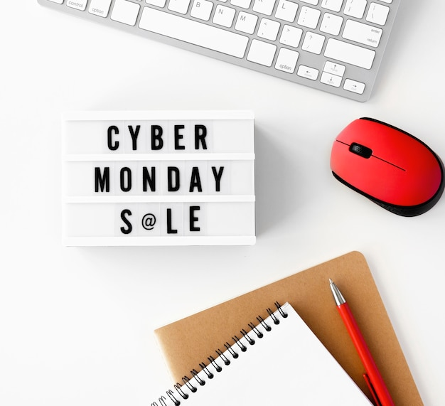 Top view of cyber monday light box with mouse and keyboard