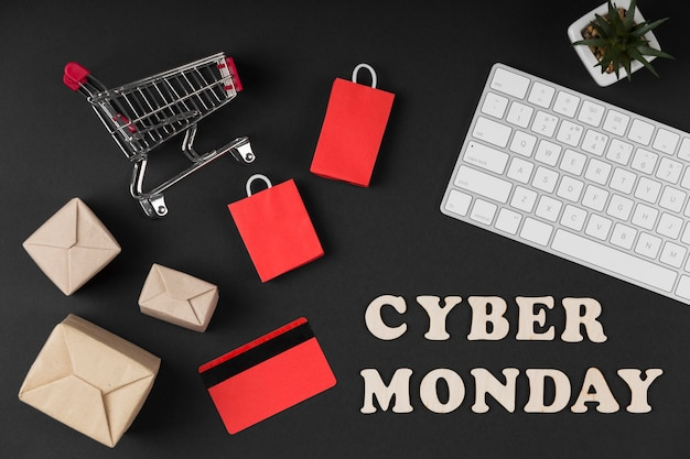 Top view cyber monday sale elements on dark background