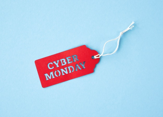 Top view of cyber monday tag