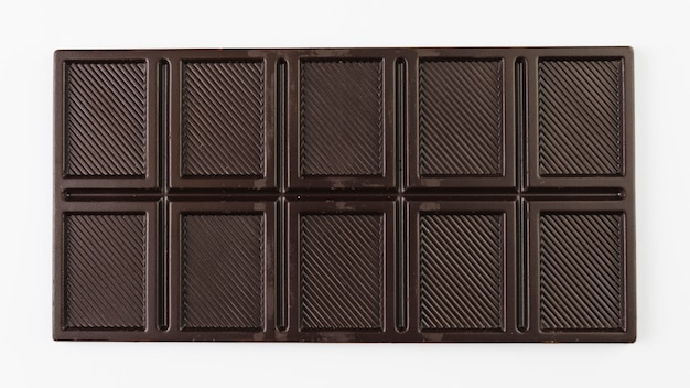 Top view dark chocolate bar