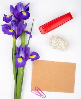 Top view of dark purple iris flowers with rope red stapler and postcard on white background