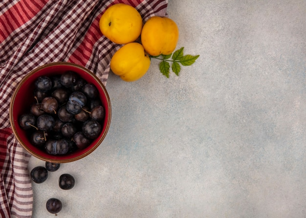 Top view of dark purple sour sloes on a red bowl with fresh sweet peaches on a checked cloth on a white background with copy space
