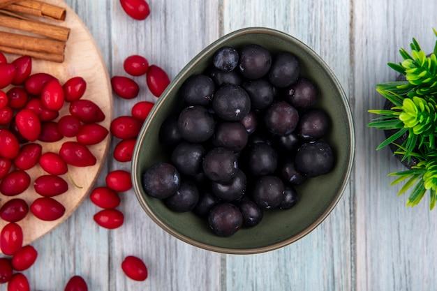 Vista dall'alto di prugnolo dalla pelle scura su una ciotola con bacche di corniolo rosso su una tavola da cucina in legno con bastoncini di cannella su un fondo di legno grigio