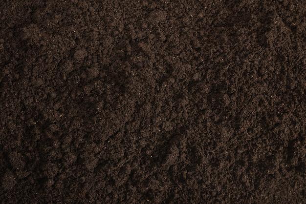 Top view of dark soil