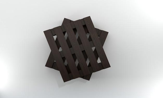 Вид сверху темный деревянный поддон 3d визуализации