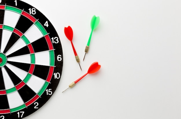 Top view of darts with copy space and target