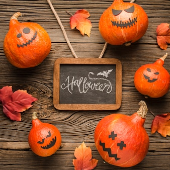Top view decoration pumpkins with mockup