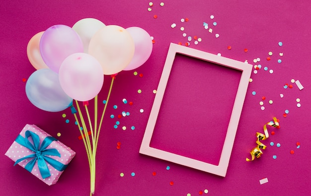 Top view decoration with balloons and frame